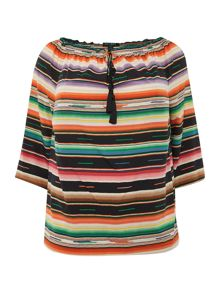 Plus Size Striped peasant top