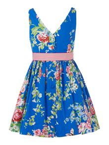 Girls Sleeveless Floral Dress With Stripe Bow