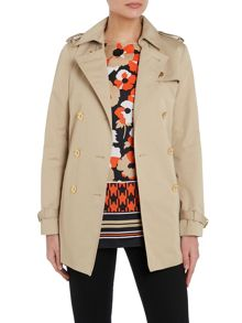 Belted short trench coat