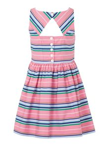 Girls Sleeveless Stripe Dress