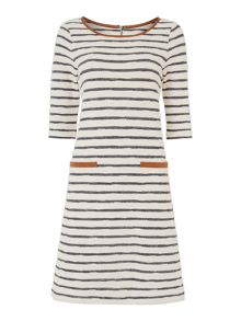 Stripe dress with trim detail