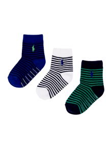 Baby boys st james stripe 3 pack socks