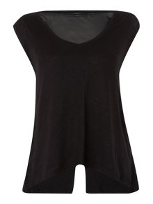 Chiffon mix underlayer v-back top