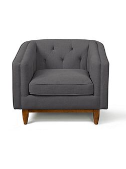 George armchair in stoned linen slate