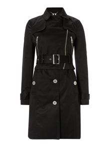 Michelle keegan long sleeved mac biker coat