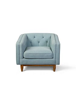 George armchair in stoned linen turquoise