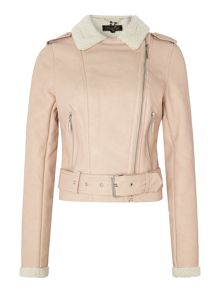 Michelle keegan shearling biker jacket