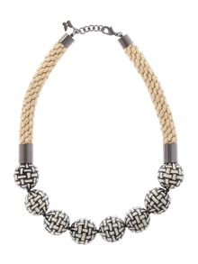 Rope necklace with check print beads