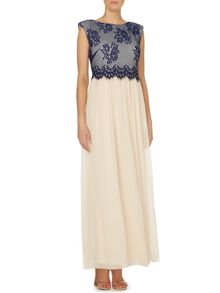 Cap sleeve lace top maxi dress