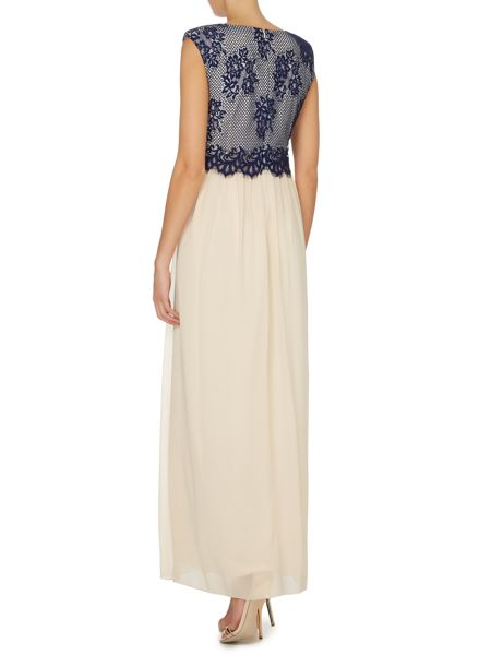 Little Mistress Cap sleeve lace top maxi dress