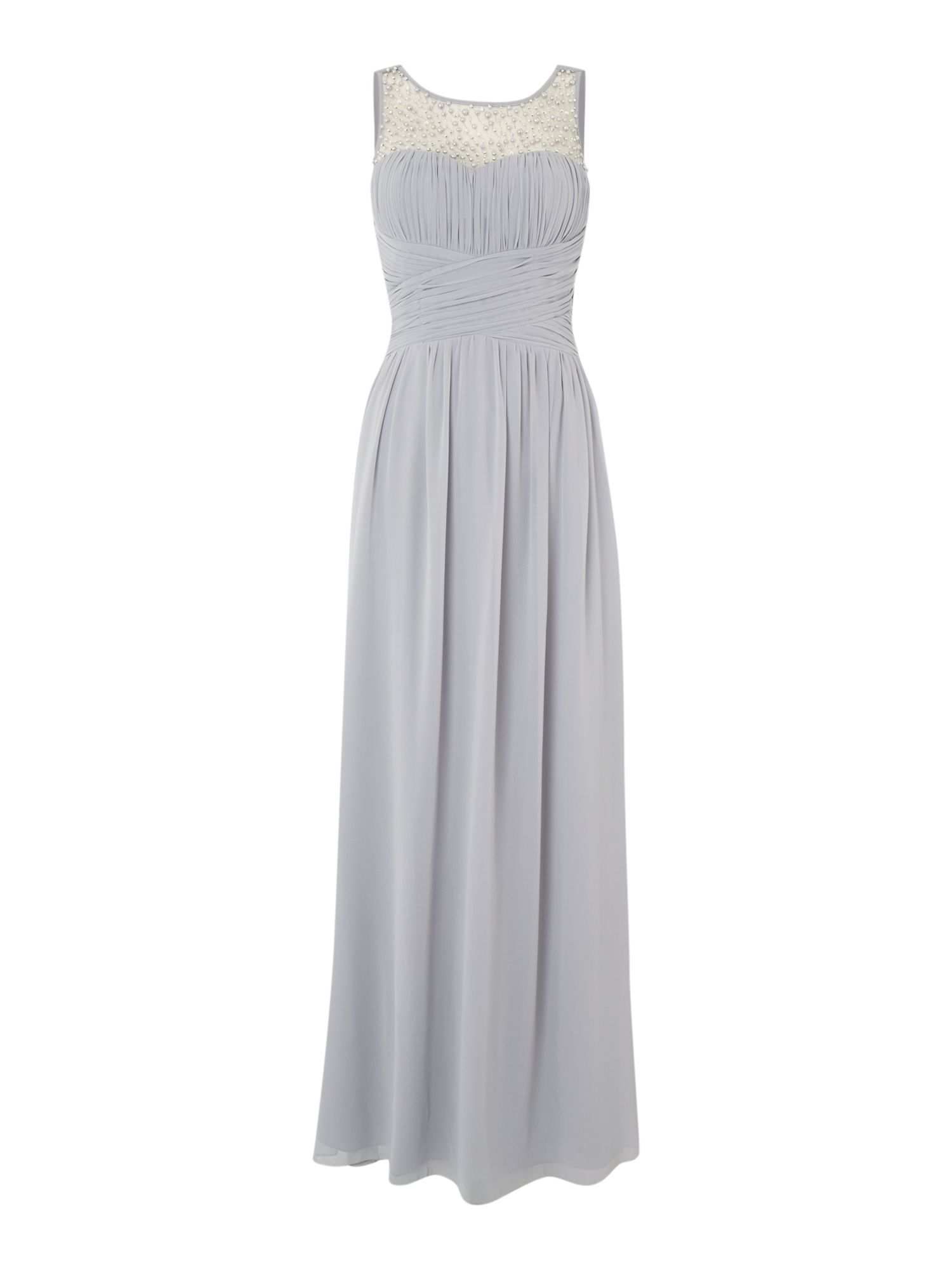 Little Mistress Beaded top maxi dress, Grey