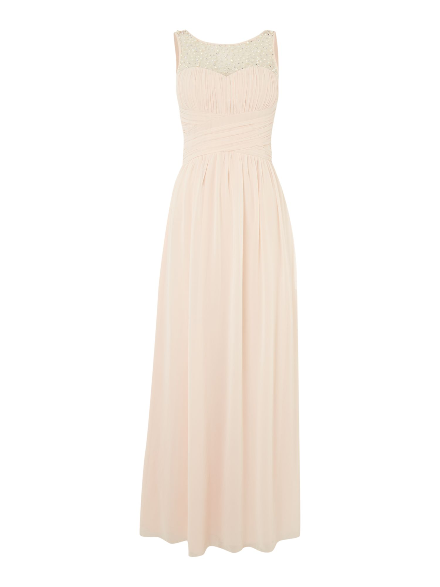 Little Mistress Beaded top maxi dress, Nude