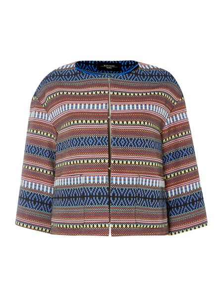 Max Mara Falesia cropped jacket with aztec pattern