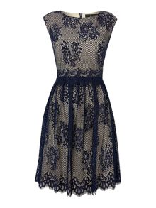 Cap sleeve lace overlay fit and flare dress