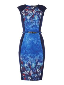 Cap sleeve panel floral print belted body dress