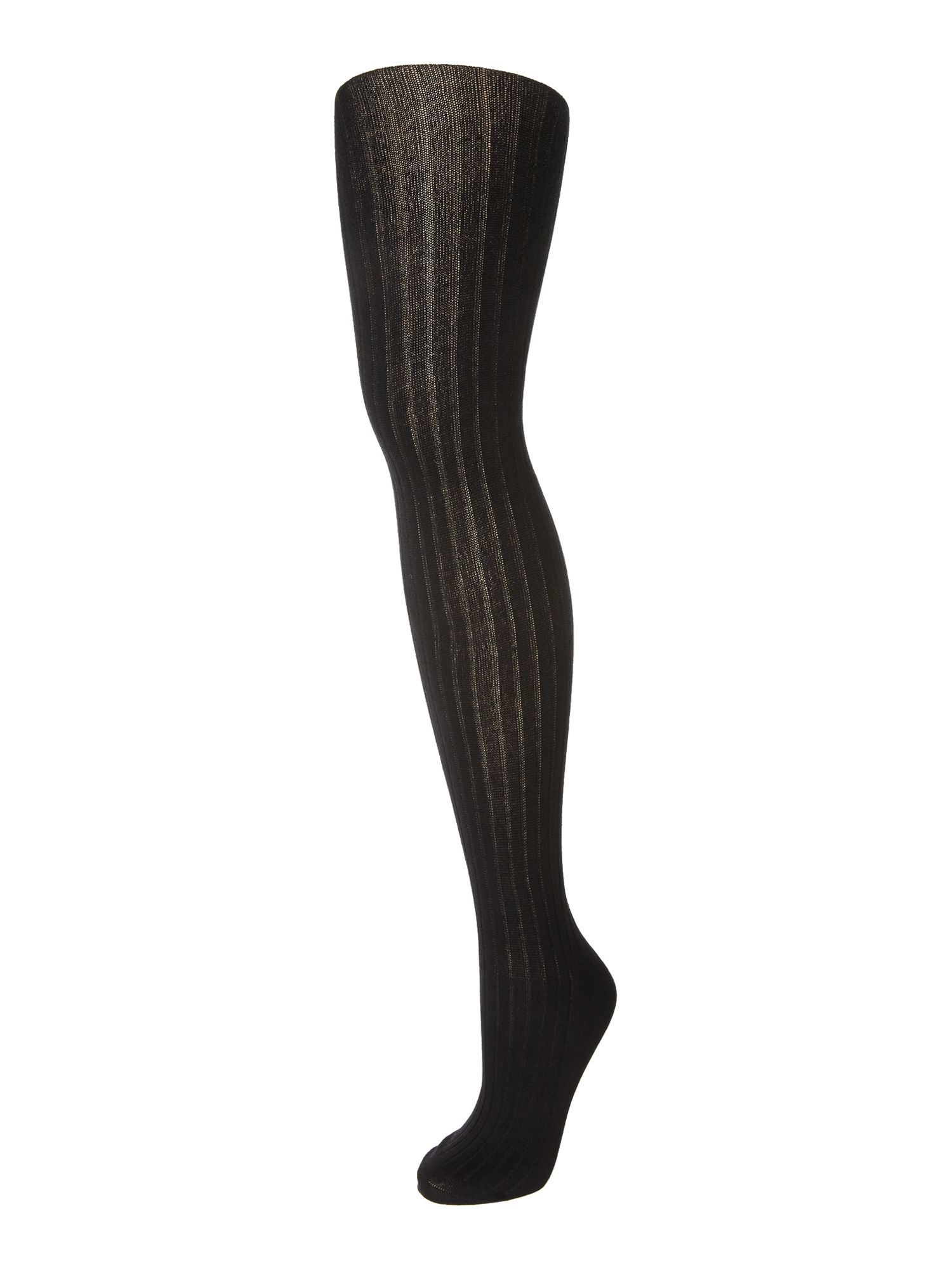 Elle Elle Bamboo 140 denier ribbed opaque tights, Black