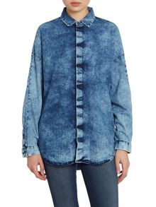 Ando long sleeve denim shirt in reverse cloud