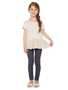 Girls Lace Insert Short Sleeved Top
