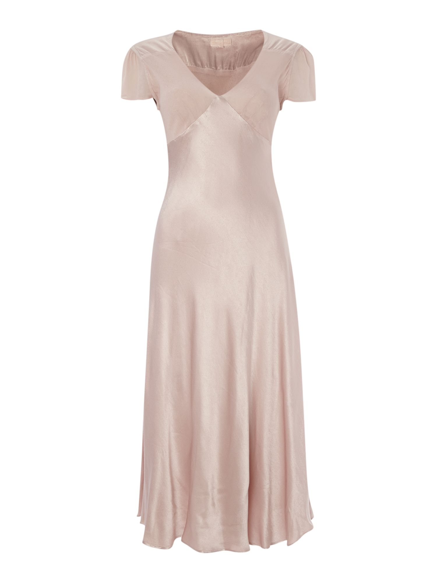 Ghost V Neck Satin and Crepe Dress $135.95 AT vintagedancer.com