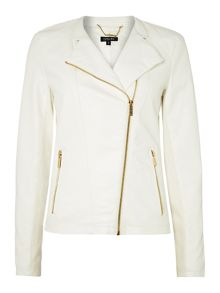 Pu jacket with gold hardware