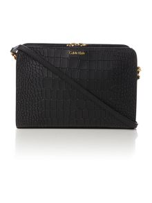 Bea black croc cross body bag