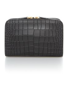 Bea black croc mini cross body bag