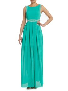 Sleeve cut out side maxi dress