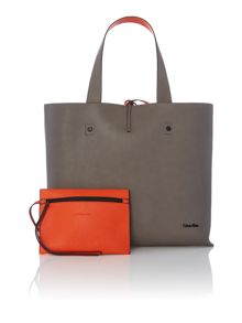 Stef brown and orange reversible tote bag