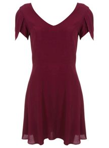 Petites Burgundy Crepe Dress