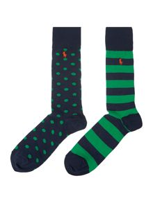 2 Pack Polka Dot And Stripe Dress Socks