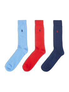 Plain 3 Pack Ribbed Dress Socks