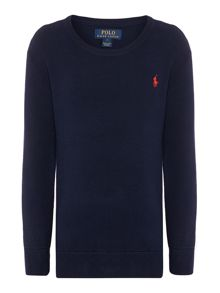 Boys Crew Neck Small Pony Knit