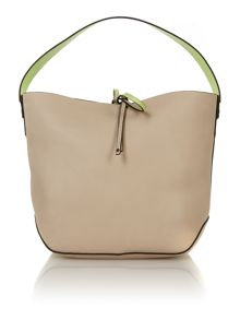 Stef neutral and green small hobo bag