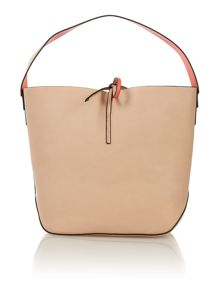 Stef neutral and red small hobo bag