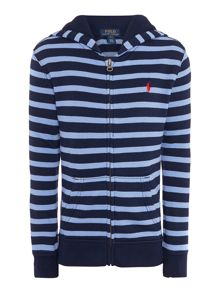 Boys small pony breton stripe zip hoody