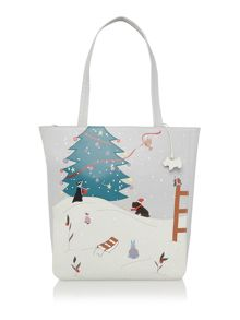 Winter wonderland grey large tote bag