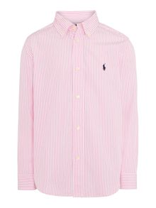 Boys Poplin Button Down Candy Stripe Shirt