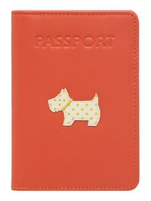 Heritage dog orange passport cover