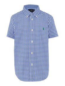 Boys Button Down Small Pony Gingham Shirt