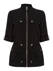 Drawstring zip through jacket