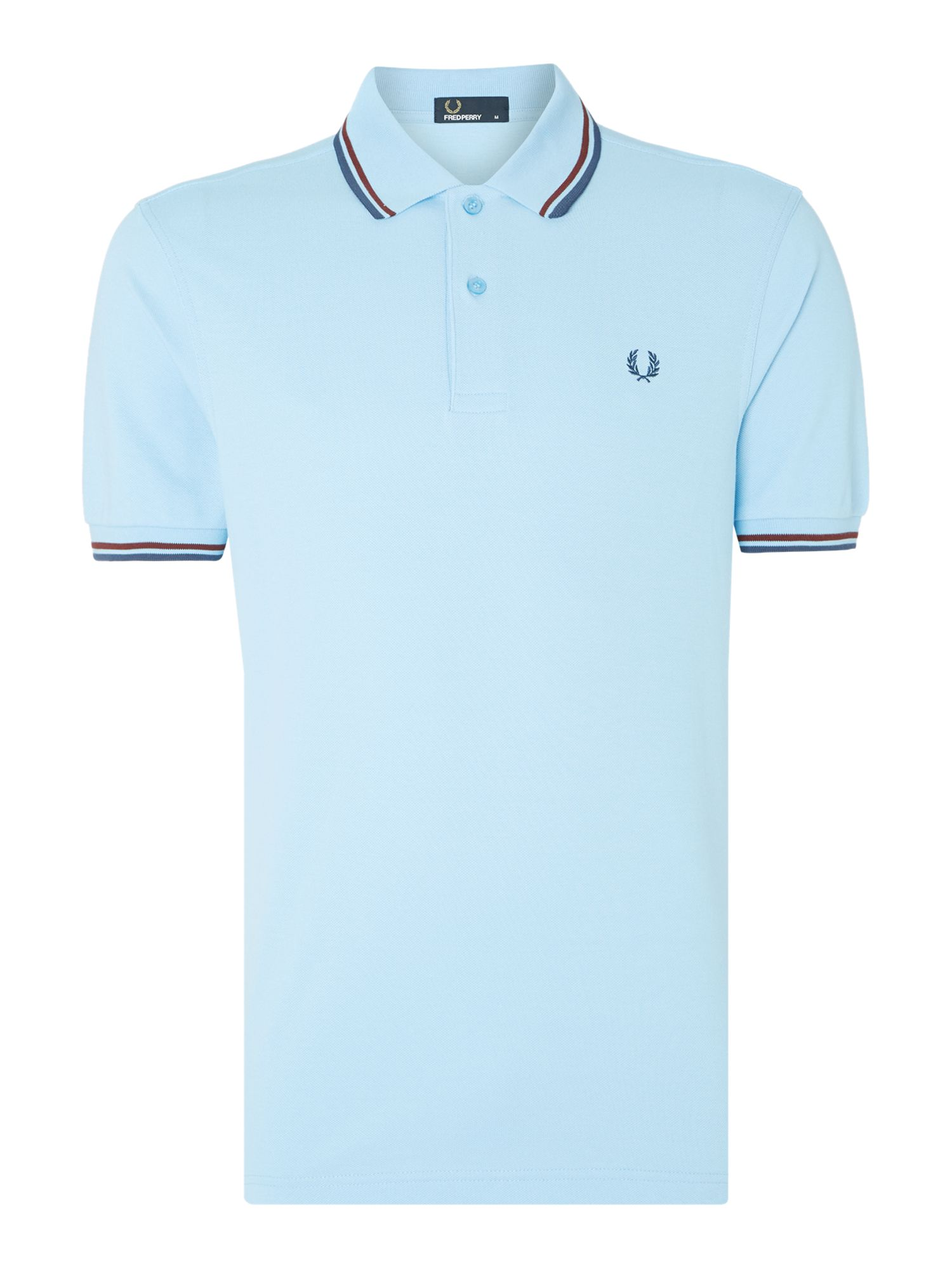 Mens Fred Perry Plain Polo Regular Fit Polo Shirt Powder Blue