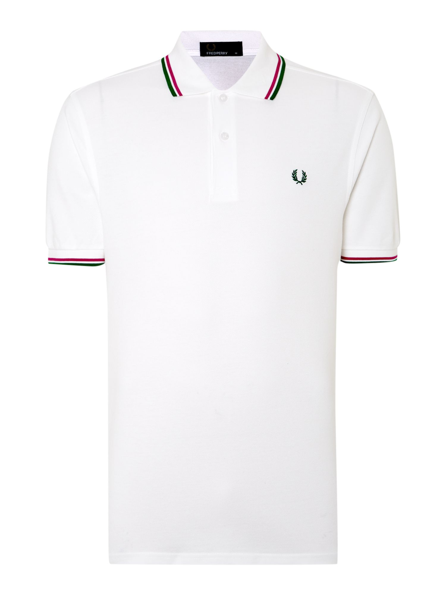 Mens Fred Perry Twin Tipped Regular Fit Polo Shirt White