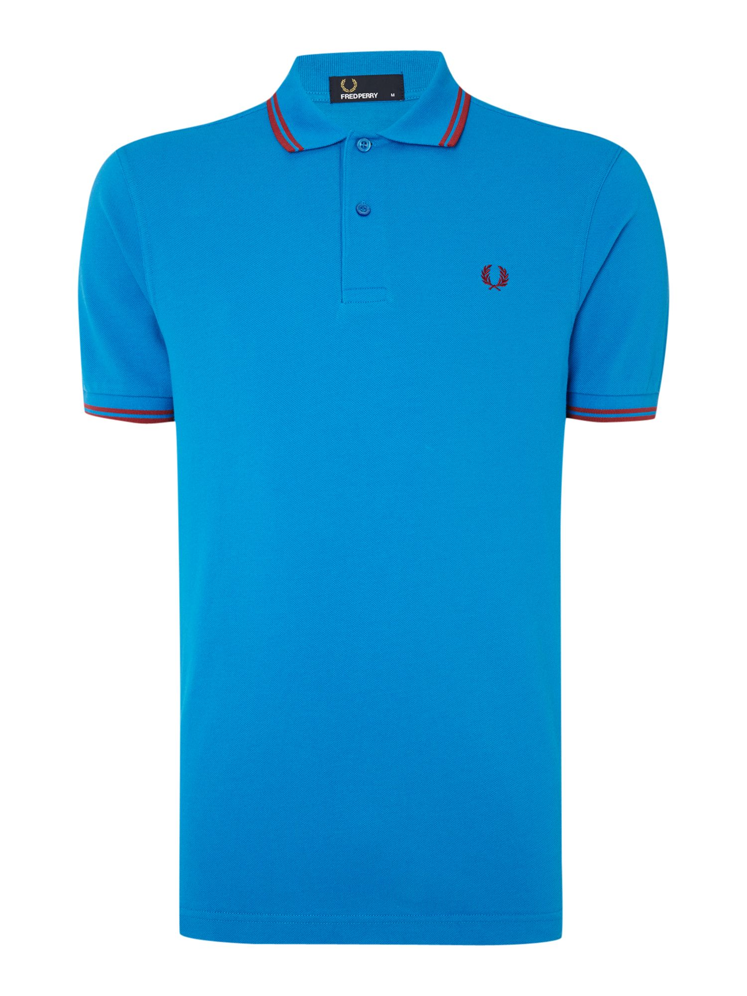 Mens Fred Perry Twin Tipped Regular Fit Polo Shirt Bright Blue