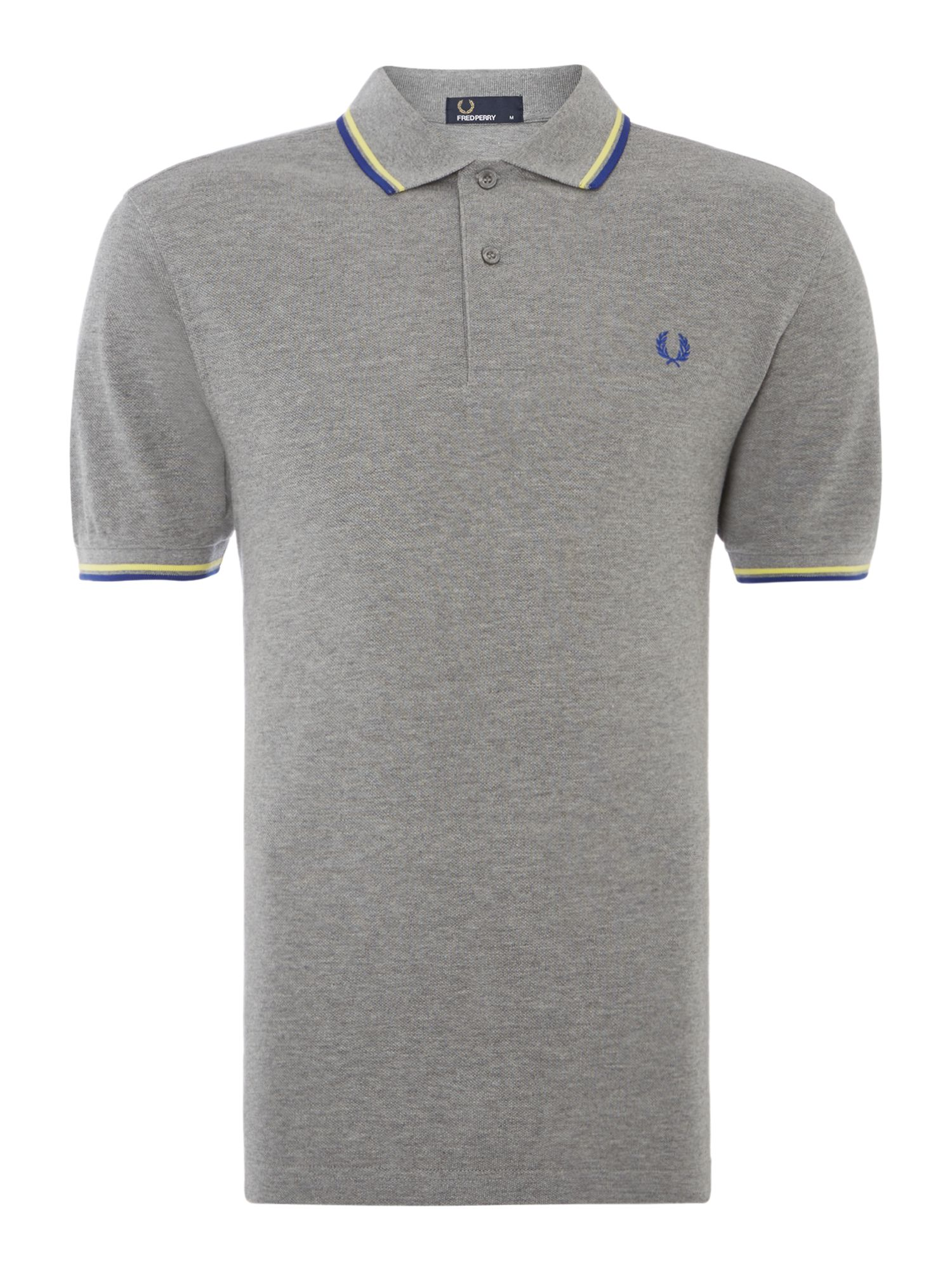 Mens Fred Perry Twin Tipped Regular Fit Polo Shirt Grey Marl