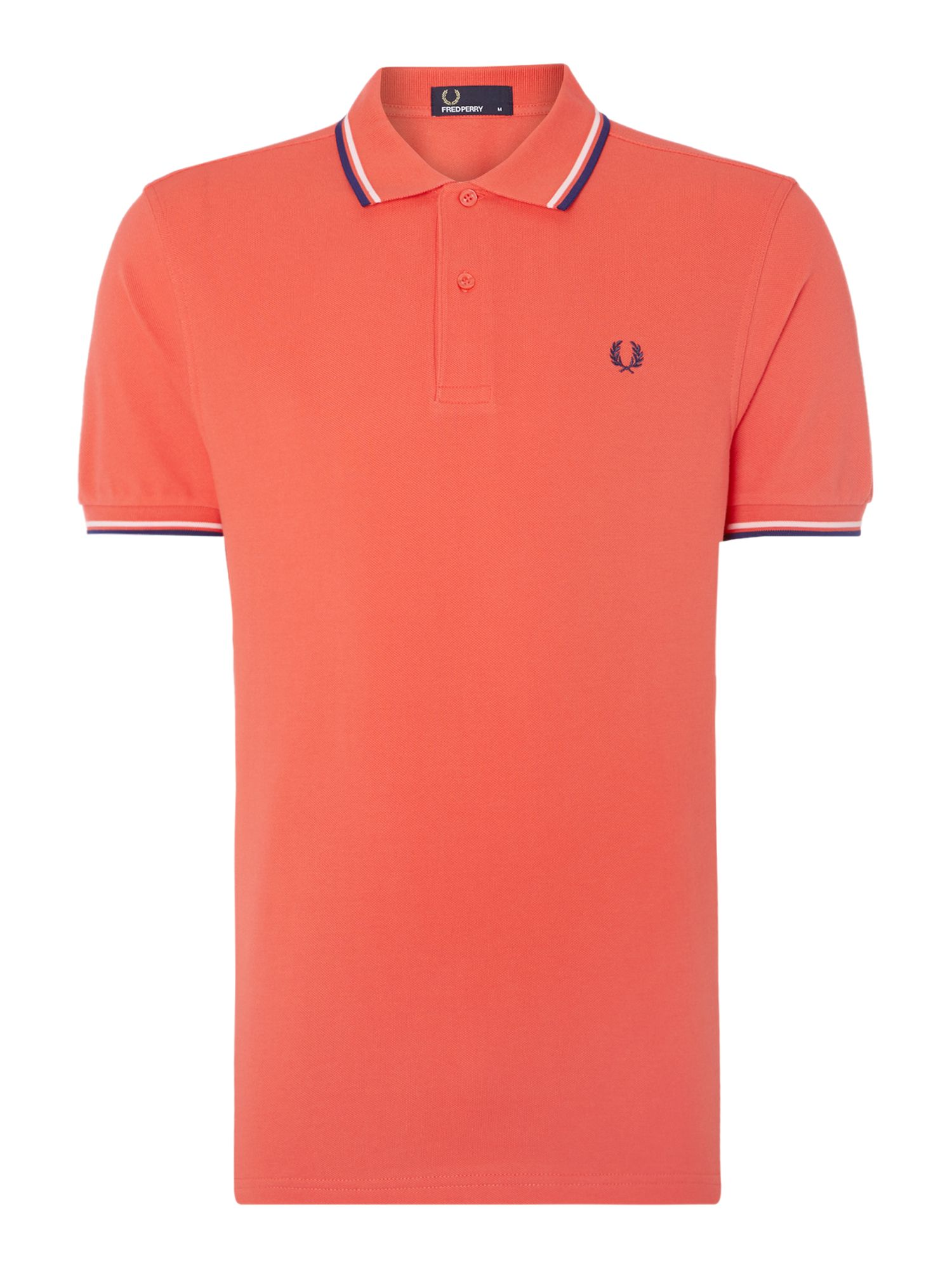Mens Fred Perry Plain Polo Regular Fit Polo Shirt Coral