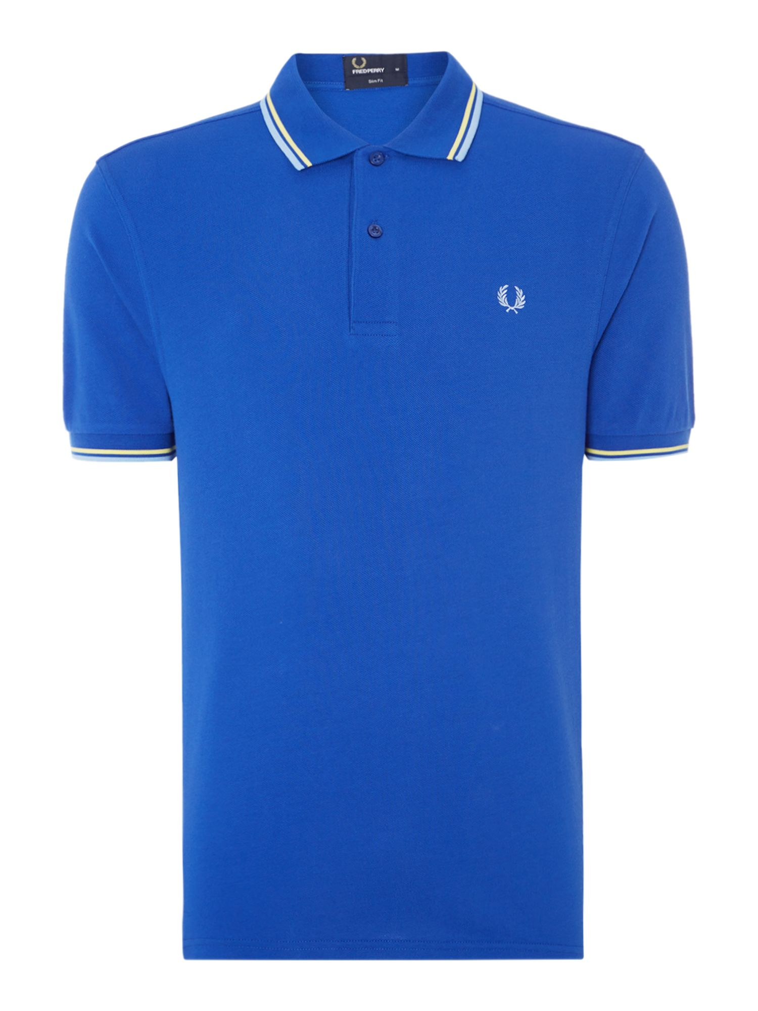 Mens Fred Perry Plain Slim Fit Polo Shirt Blue
