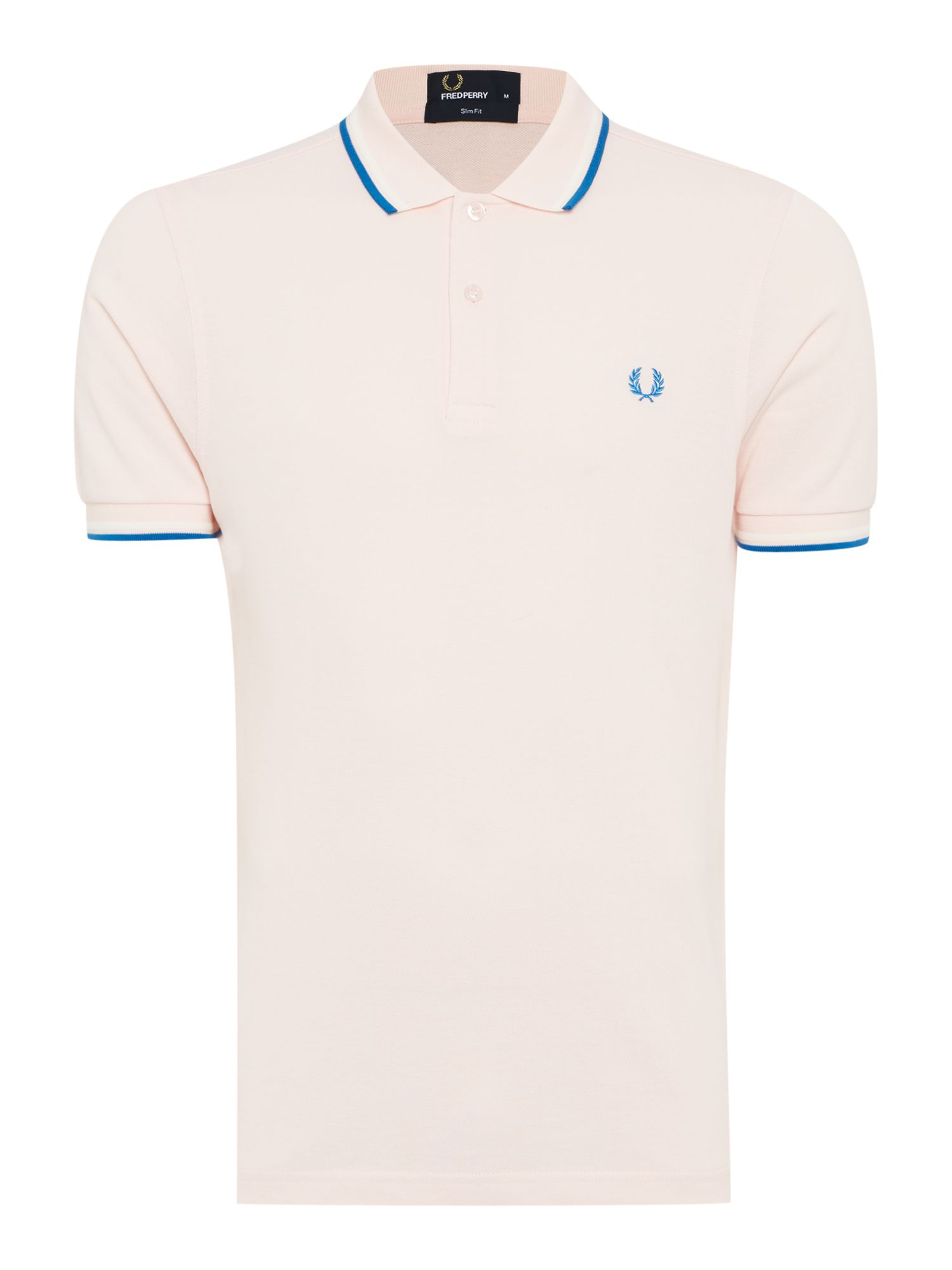 Mens Fred Perry Plain Slim Fit Polo Shirt Light Pink
