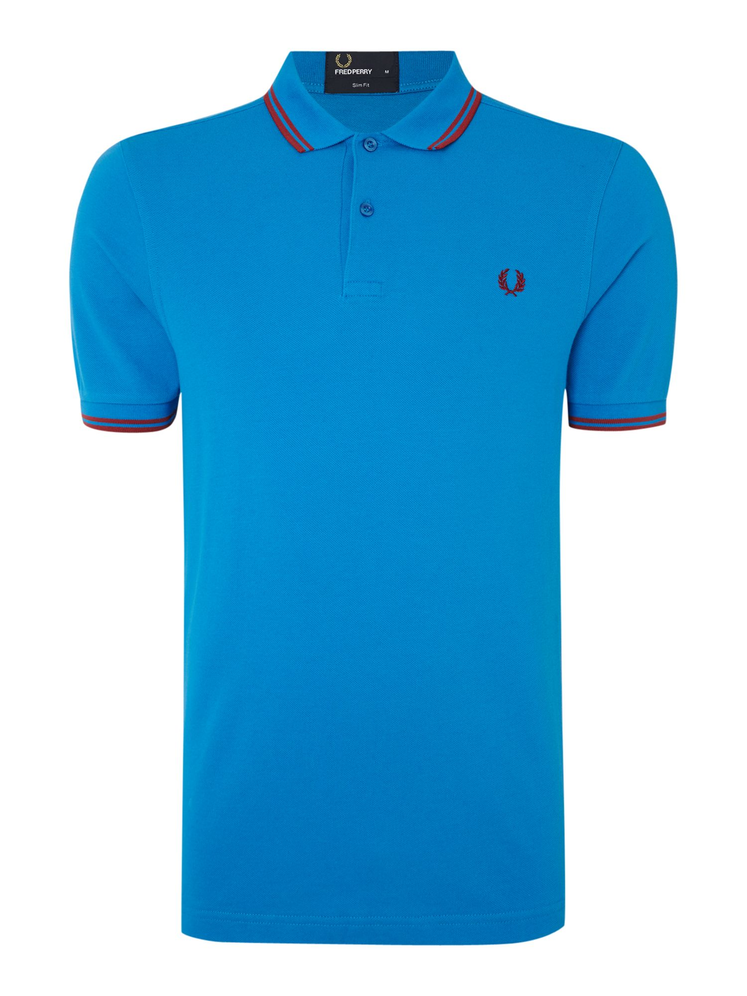 Mens Fred Perry Plain Slim Fit Polo Shirt Bright Blue