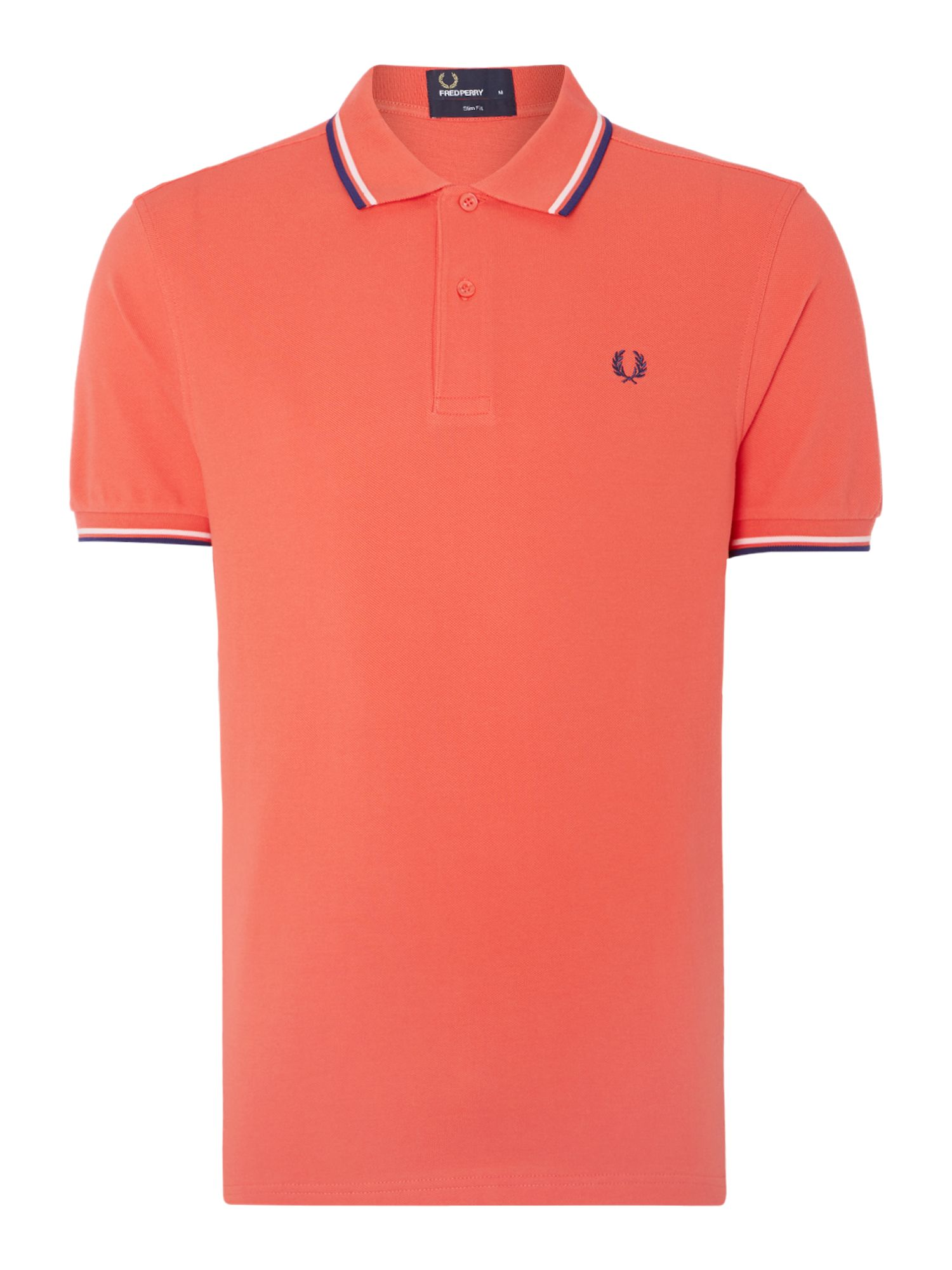 Mens Fred Perry Plain Polo Slim Fit Polo Shirt Coral