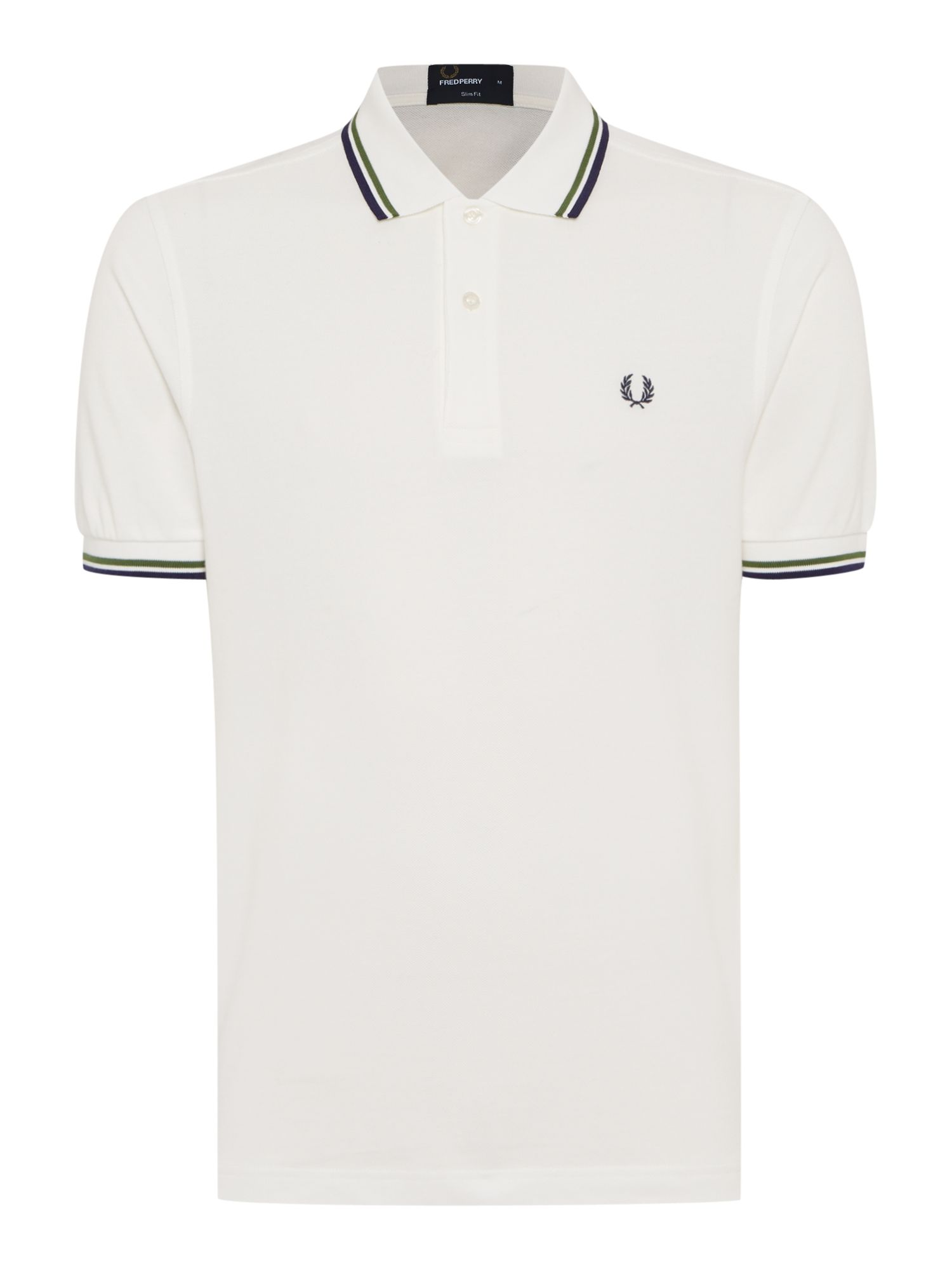 Mens Fred Perry Plain Slim Fit Polo Shirt Off White